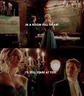 art, caroline forbes and klaus mikaelson