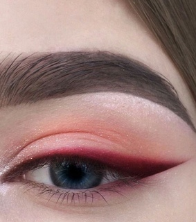 red makeup, eyeshadow and brunette