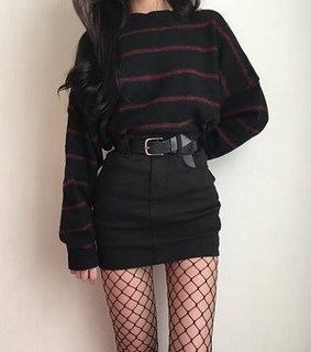 black skirt, sweaters and fashion autumn