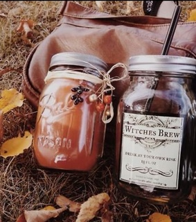 leaves, mason jars and pumpkin