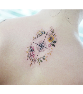 flowers, colortattoo and compass