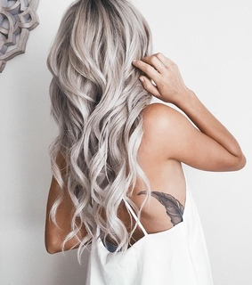 curly, ash blonde and silver blonde