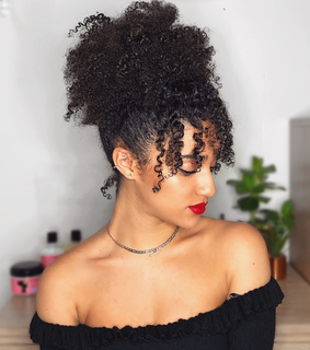 curly fringe, curly bangs and natural hair