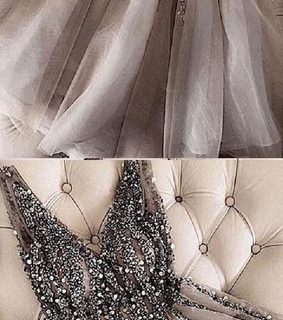 grey homecoming dresses, beautiful prom dress and v neck prom dress