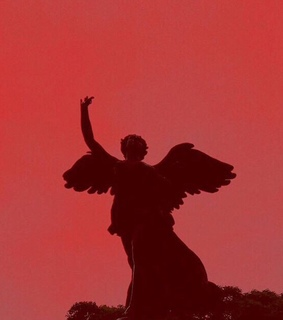 red aesthetic, shadow and statue