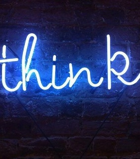 blue, think and neonsign