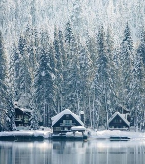 lake, cabins and woods