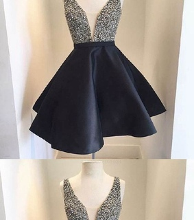 a line homecoming dress, short homecoming dress and v neck homecoming dress