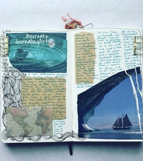 study notes, blue and moleskine journal