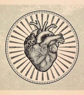 illustrations, human heart and tattoos