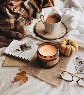 polaroids, candle and coziness