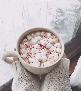 peppermint hot chocolate, snow and cold