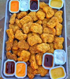 sauce and chicken nuggets