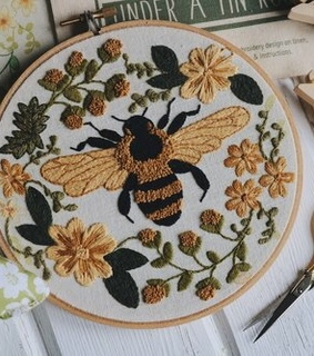 crochet, bumble bee and embroidery