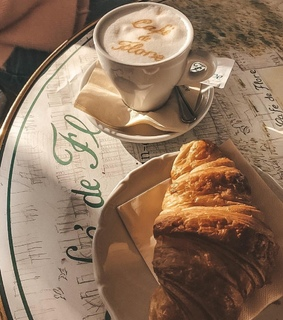 coffee, morning inspo and croissant