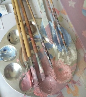 paint aesthetic, art and pink
