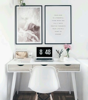work space, home decor and flowers