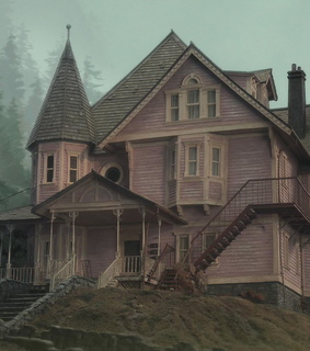 coraline, pink house and cinematography