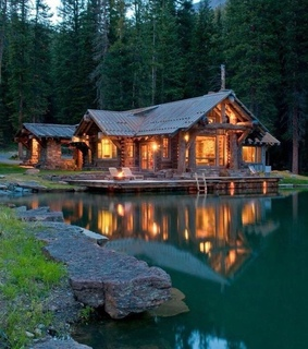 mountains, log cabin and house