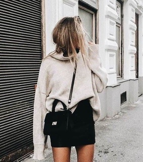 winter outfit, black skirt and sweater