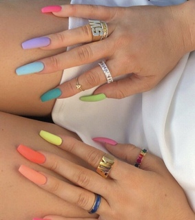 acrylic nails, rainbow nails and glam