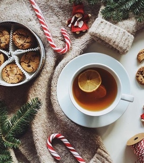 cozy, candy canes and tea