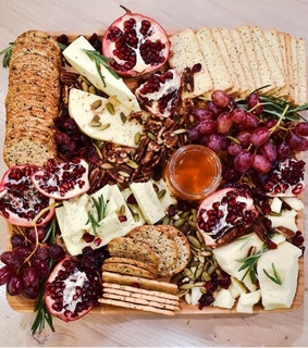 thyme, cheese plate and veggies
