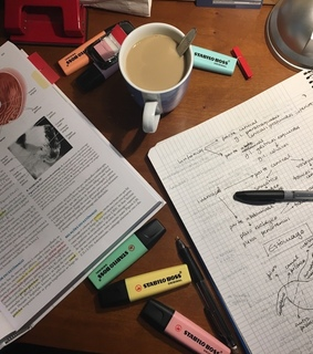 university, coffee and highlighters