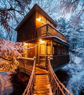 snow, winter and tree house