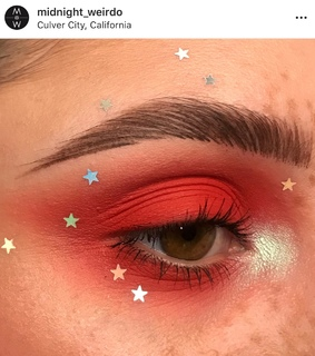fire, eyeshadow and red