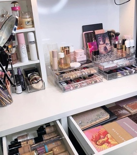 vanity organization, makeup collection and beauty room