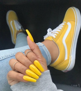 colorful, beautiful and yellow nails
