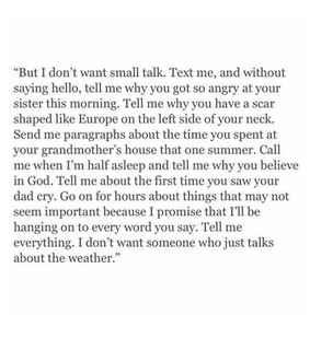 want, small talk and text