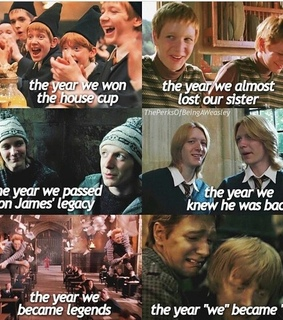 the twins, george weasley and harry potter