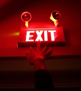 red, exit and black