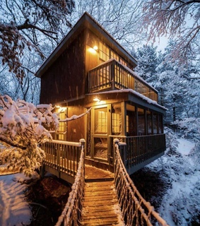 dreamy, snow and cabin