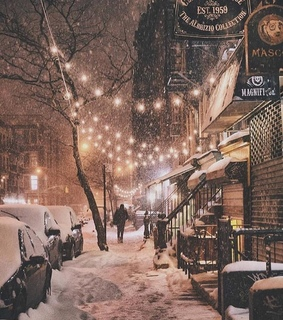 snow, lights and town