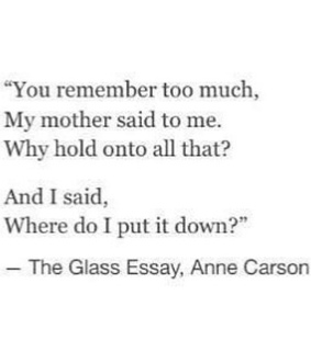 hold on, remember and the glass essay