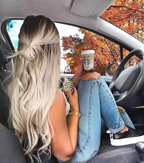 girl, coffee and autumn leaves