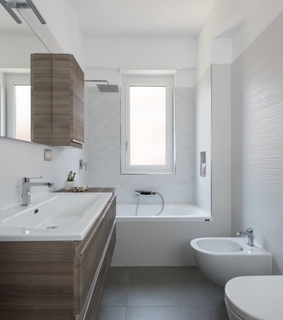 bathroom, shower and brown