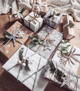 holiday, wrapping paper and presents