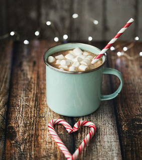 peppermint, hot chocolate and candy cane
