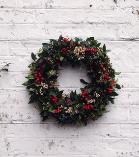 flowers, green and christmas wreath