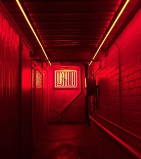 aesthetic, exit and neon lights