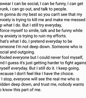 anxiety, hurt and past