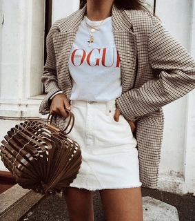 white skirt, white t shirt and outfit inspiration