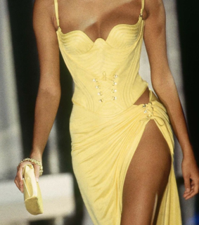 fashion week, yellow dress lovely and evening wear
