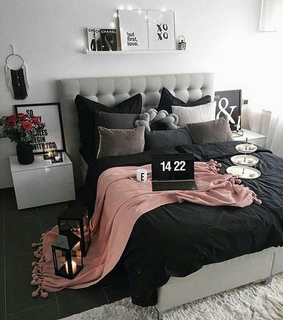 bedroom and pink and grey
