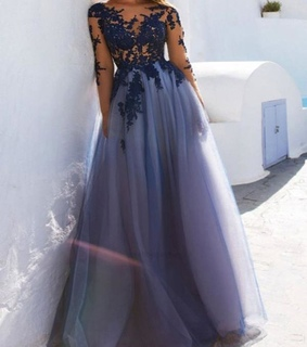 long sleeves prom dress, long prom dress and prom dress a line