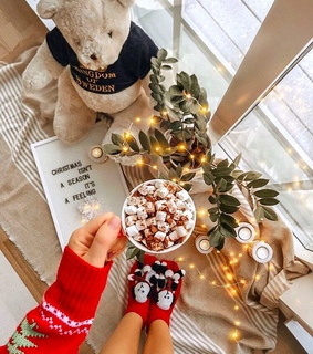 winter, christmas and hot cocoa